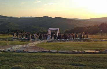 wedding ceremony at sunset tuscany