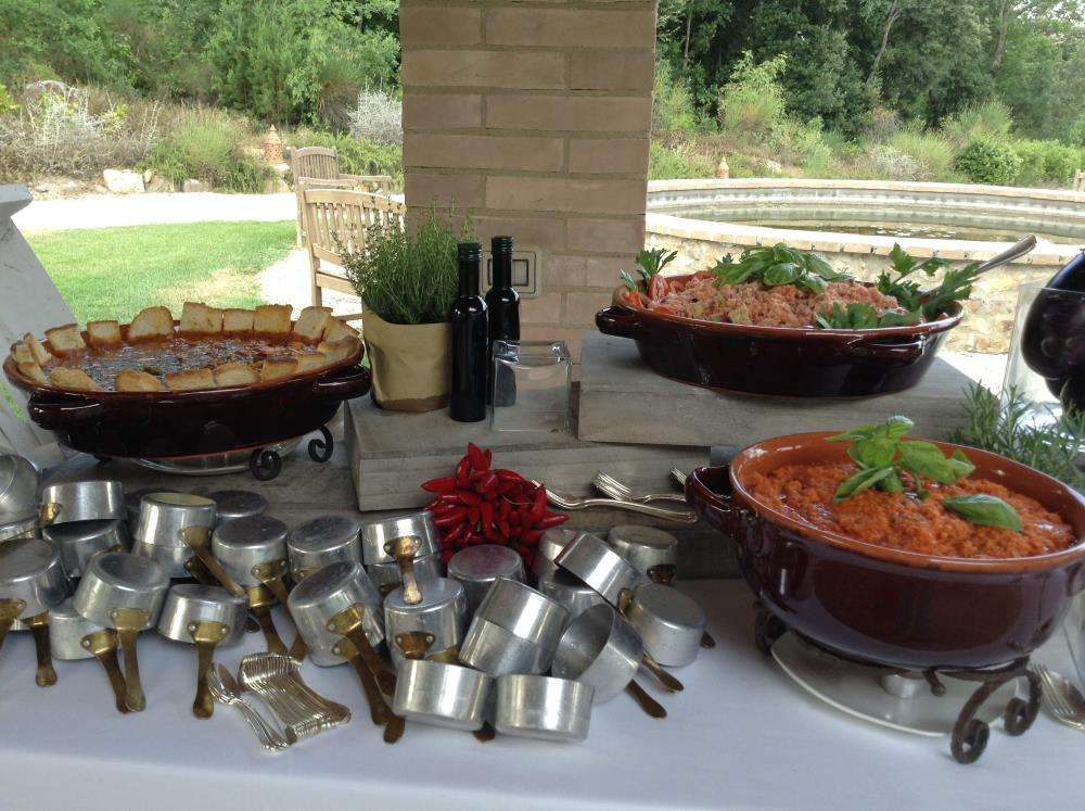 Tuscan Traditional foods with fun buffet set ups