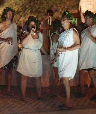 toga party theme event in a castle