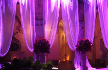 drapery and light show for reception setting