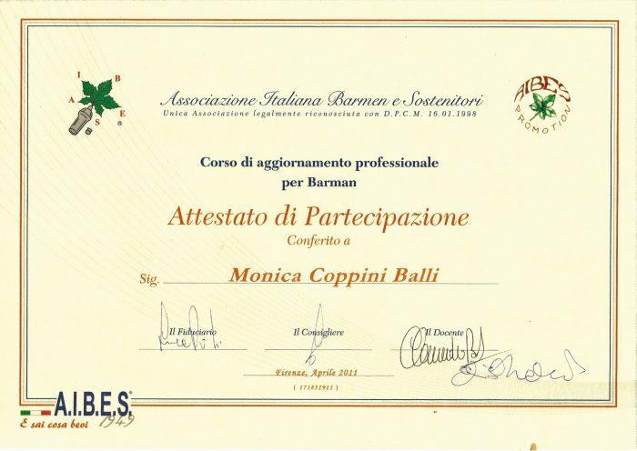 AIBES certificato monica balli
