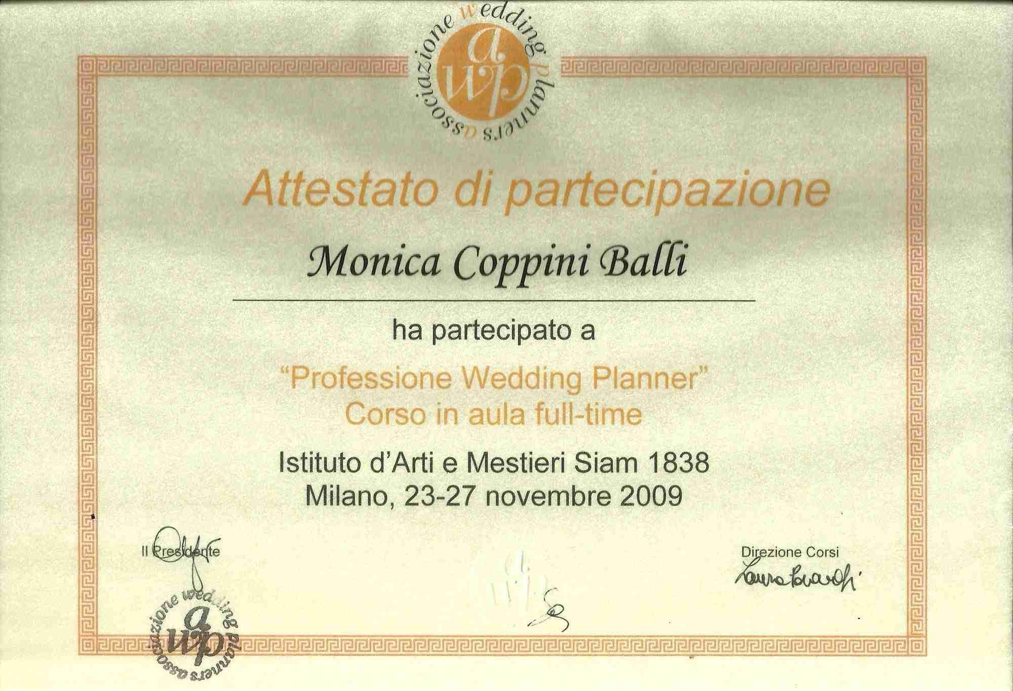 Awp certificate monica balli